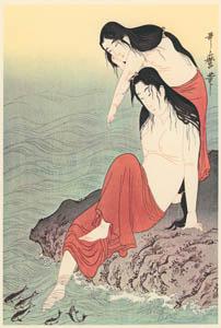 thumbnail Kitagawa Utamaro – Diving for Abalones (Left) [from Utamaro – Ukiyoe meisaku senshū I]