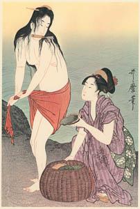 thumbnail Kitagawa Utamaro – Diving  for Abalones (Right) [from Utamaro – Ukiyoe meisaku senshū I]