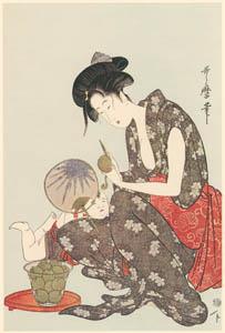 thumbnail Kitagawa Utamaro – Peeling a Peach [from Utamaro – Ukiyoe meisaku senshū I]