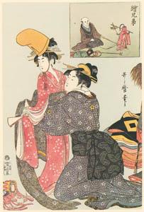 thumbnail Kitagawa Utamaro – Two Pictures in Pair: Monkey Trainer [from Utamaro – Ukiyoe meisaku senshū I]