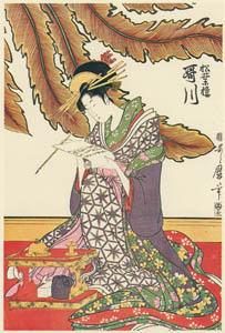 thumbnail Kitagawa Utamaro – Three Beauties at Matsubaro – Utagawa [from Utamaro – Ukiyoe meisaku senshū I]