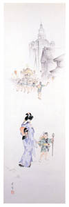 高畠華宵 – 夏祭り (高畠華宵大正ロマン館図録より)のサムネイル画像