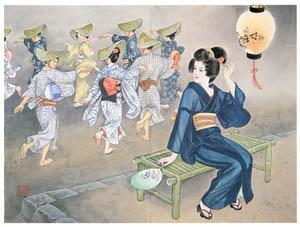 thumbnail Takabatake Kashō – Beautiful Women in August [from Catalogue of Takabatake Kashō Taisho Roman Museum]