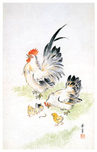 thumbnail Takabatake Kashō – Chickens [from Catalogue of Takabatake Kashō Taisho Roman Museum]