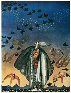 thumbnail Kay Nielsen – No sooner had he whistled than he heard a whizzing and a whirring from all quarters, and such a large flock of birds swept down that they blackened all the field in which they settled (The Three Princesses in the Blue Mountain) [from Kay Nielsen]