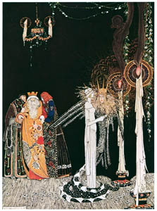 thumbnail Kay Nielsen – She saw the Lindworm for the first time as he came in and stood by her side (Prince Lindworm) [from Kay Nielsen]