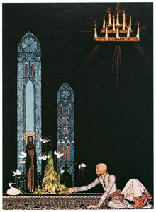 "thumbnail Kay Nielsen – ""On that island stands a church; in that church is a well; in that well swims a duck."" (The Giant Who Had No Heart in His Body) [from Kay Nielsen]"
