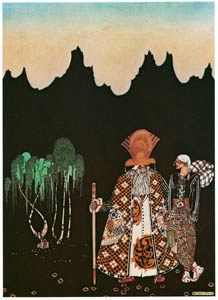 "thumbnail Kay Nielsen – When he had walked a day or so, a strange man met him. ""Whither away?"" asked the man (The Widow's Son) [from Kay Nielsen]"