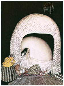 thumbnail Kay Nielsen – And this time she whisked off the wig; and there lay the lad, so lovely, and white and red, just as the Princess had seen him in the morning sun (The Widow's Son) [from Kay Nielsen]