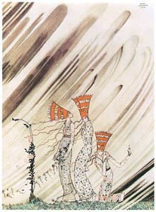 thumbnail Kay Nielsen – Just as they bent down to take the rose a big dense snow-drift came and carried them away (The Three Princesses in the Blue Mountain) [from Kay Nielsen]