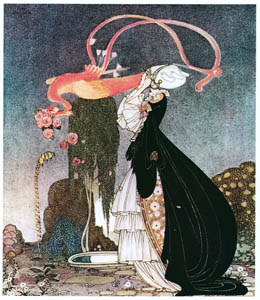"""thumbnail Kay Nielsen – """"I have had such a terrible dream,"""" she declared. """"…. a pretty bird swooped down, snatched it from my hands and flew away with it"""" (Rosanie or The Inconstant Prince) [from Kay Nielsen]"""