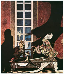 """thumbnail Kay Nielsen – """"Your soul!—My soul!"""" they kept saying in hollow tones, according as they won or lost (John and the Ghosts) [from Kay Nielsen]"""