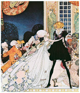 """thumbnail Kay Nielsen – """"Don't drink!"""" cried out the little Princess, springing to her feet; """"I would rather marry a gardener!"""" (The Twelve Dancing Princesse) [from Kay Nielsen]"""