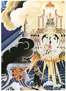 thumbnail Kay Nielsen – His wife was seated on a golden throne (The Fisherman and his wife) [from Kay Nielsen]
