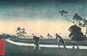 thumbnail Kobayashi Kiyochika – A Tugboat on the Koume River in the Night [from Kiyochika – Ukiyoe meisaku senshū]