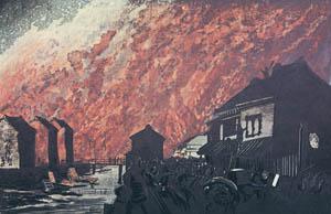 thumbnail Kobayashi Kiyochika – A Fire as seen from Hisamatsucho [from Kiyochika – Ukiyoe meisaku senshū]