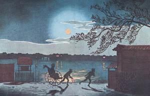 thumbnail Kobayashi Kiyochika – A Distant View of Okawa Ichinohashi [from Kiyochika – Ukiyoe meisaku senshū]