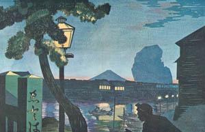 thumbnail Kobayashi Kiyochika – Mt. Fuji as seen from Edobashi Bridge in the evening [from Kiyochika – Ukiyoe meisaku senshū]