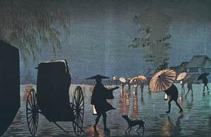 小林清親 – 柳原夜雨 (浮世絵名作選集 清親より)のサムネイル画像