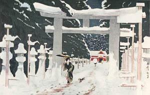 小林清親 – 上野東照宮積雪之図 (浮世絵名作選集 清親より)のサムネイル画像