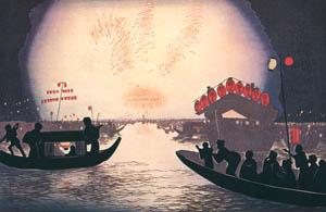 thumbnail Kobayashi Kiyochika – An Exhibition of Fireworks at Ryogoku [from Kiyochika – Ukiyoe meisaku senshū]