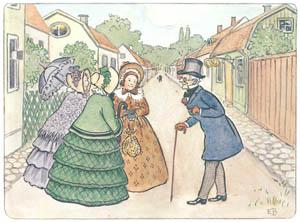 エルサ・ベスコフ – 挿絵5 (みどりおばさん、ちゃいろおばさん、むらさきおばさんより)のサムネイル画像