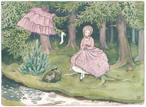 エルサ・ベスコフ – 挿絵8 (みどりおばさん、ちゃいろおばさん、むらさきおばさんより)のサムネイル画像