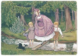 エルサ・ベスコフ – 挿絵12 (みどりおばさん、ちゃいろおばさん、むらさきおばさんより)のサムネイル画像