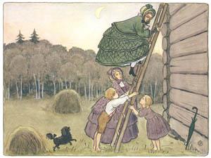 エルサ・ベスコフ – 挿絵13 (みどりおばさん、ちゃいろおばさん、むらさきおばさんより)のサムネイル画像