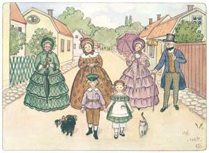 エルサ・ベスコフ – 挿絵15 (みどりおばさん、ちゃいろおばさん、むらさきおばさんより)のサムネイル画像