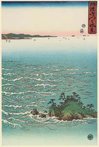 thumbnail Utagawa Hiroshige – A View of Whirlpools at Awa (Right) [from Famous Places in Kamigata – Ukiyoe meisaku senshū]