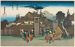 thumbnail Utagawa Hiroshige – A Willow-tree by the Gateway of Shimabara [from Famous Places in Kamigata – Ukiyoe meisaku senshū]