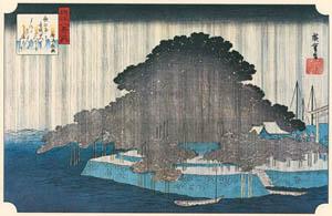 thumbnail Utagawa Hiroshige – A Night Rain at Karasaki [from Famous Places in Kamigata – Ukiyoe meisaku senshū]