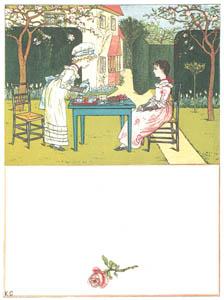 ケイト・グリーナウェイ – お茶目な小間使いのフィリスちゃんは ベリンダさんをお茶にまねきました (窓の下でより)のサムネイル画像