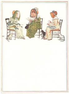 ケイト・グリーナウェイ – 3人のおしゃべりおばさん それぞれ猫たちをお茶につれていきました (窓の下でより)のサムネイル画像