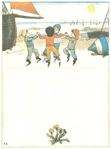 thumbnail Kate Greenaway – The boat sails away, like a bird on the wing, And the little boys dance on the sands in a ring [from Under the Window]