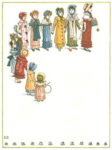 thumbnail Kate Greenaway – The twelve Miss Pelicoes  Were twelve sweet little girls [from Under the Window]