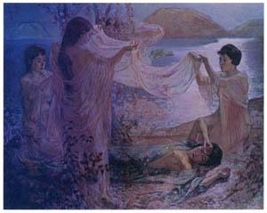 thumbnail Nakazawa Hiromitsu – Girls in the Moonlight [from Nakazawa Hiromitsu: Retrospective Exhibition of Commemorating the 140th Anniversaly of the Artist's Birth]