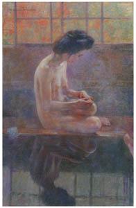 中澤弘光 – 山の湯 (生誕140年 中澤弘光展-知られざる画家の軌跡-より)のサムネイル画像