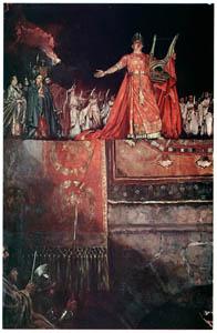 ハワード・パイル – 炎に包まれたローマと金のリュートを抱えたネロ (HOWARD PYLEより)のサムネイル画像