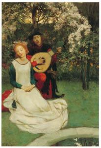 ハワード・パイル – 庭に座り、彼は彼女のために歌を歌った (黄金時代の画家たち アメリカン・イラストレーション展カタログより)のサムネイル画像