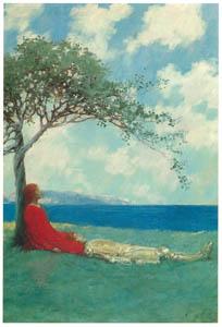 ハワード・パイル – 心地よい気分でしばらく横たわっていた (黄金時代の画家たち アメリカン・イラストレーション展カタログより)のサムネイル画像