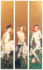 ハワード・チャンドラー・クリスティ – 3人の裸婦のトリプティカ (黄金時代の画家たち アメリカン・イラストレーション展カタログより)のサムネイル画像