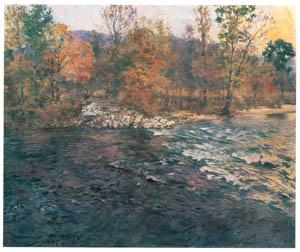ハワード・チャンドラー・クリスティ – 小川のある秋の風景 (黄金時代の画家たち アメリカン・イラストレーション展カタログより)のサムネイル画像