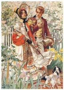 J・C・ライエンデッカー – 庭園の散歩 (黄金時代の画家たち アメリカン・イラストレーション展カタログより)のサムネイル画像