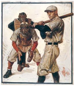 thumbnail J. C. Leyendecker – Baseball Scene of Batter, Catcher and Umpire [from The Great American Illustrators]