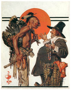 thumbnail J. C. Leyendecker – Thanksgiving (Indian Bartering with Pilgrim) [from The Great American Illustrators]