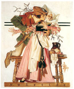 J・C・ライエンデッカー – クリスマスの季節 – ヤドリギの下のキス (黄金時代の画家たち アメリカン・イラストレーション展カタログより)のサムネイル画像