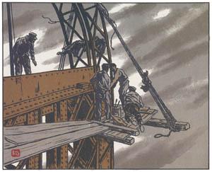 thumbnail Henri Rivière – En haut de la tour [from Les Trente-six Vues de la tour Eiffel]