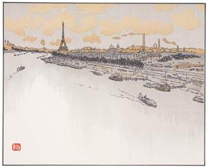 アンリ・リヴィエール – ポワン・デュ・ジュール(夜明け)より (エッフェル塔三十六景より)のサムネイル画像